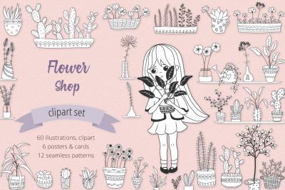 Flower Shop Illustration Set