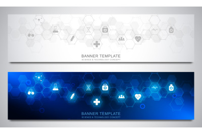 Banners design template for healthcare and medical decoration with fla