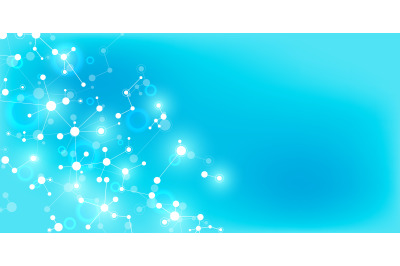 Abstract molecules on soft blue background. Molecular structures or DN