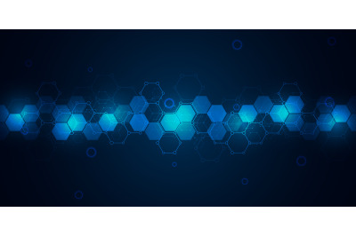 Abstract molecules on dark blue background. Molecular structures or ch