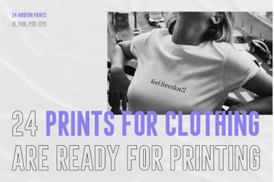 24 T - Shirt Design, Creative prints for clothing, print wear, fashion brand
