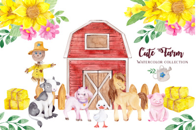 Cute Farm. Watercolor collection