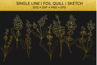 Foil quill SVG golden Lavender. Single line design