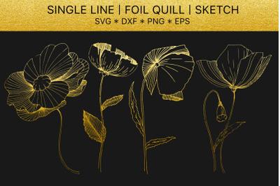 Foil quill SVG golden crystals. Single line design