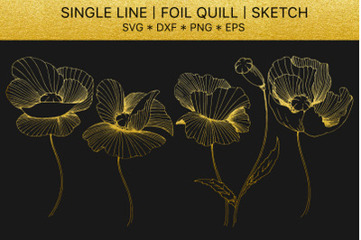 Foil quill SVG golden crystals. Single line design