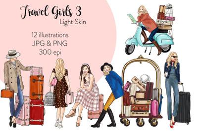 Watercolor Fashion Clipart - Travel Girls 3 - Light Skin