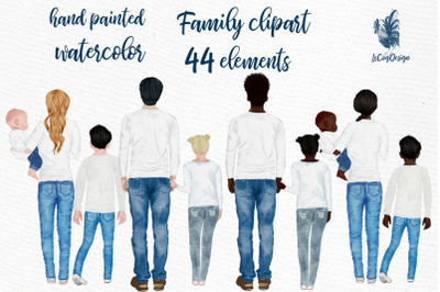 Watercolor Family Clipart, People clipart Infant baby
