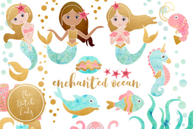Enchanted Mermaid Ocean Clipart Set