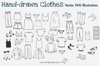 Hand-drawn Clothes Illustration. 39 SVG Vector Files.