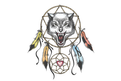 Wolf Head Native Americans Totem Symbol