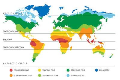 World Climate Map with Temperature Zones