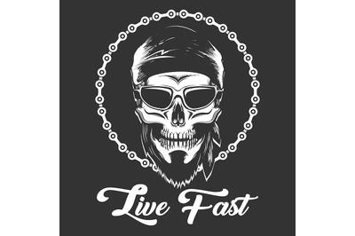 Biker Skull in glasses with wording Live Fast