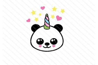 Baby panda svg unicorn vector clipart baby kawaii svg cut files