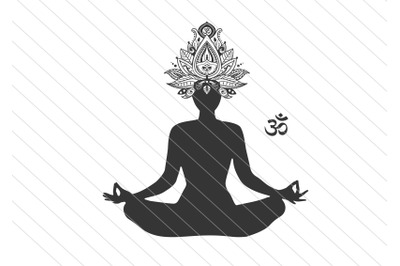 Namaste svg yoga girl svg vector clipart cut file