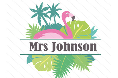 Flamingo split frame svg vector clipart cut file, tropical svg
