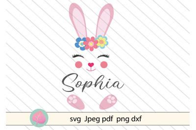 Bunny svg cut file, split frame svg for kids
