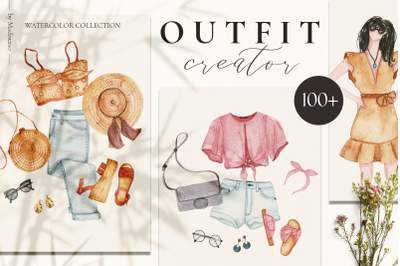 Outfit Creator - watercolor fashion clothes set