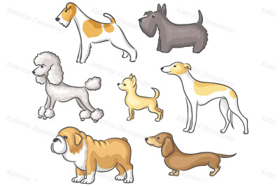 Round Frame and Set of Cartoon Dogs of Different Breeds