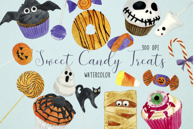Watercolor Halloween Candy Clipart, Halloween Sweets Clipart, Trick or