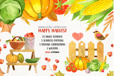 Watercolor autumn harvest clip art