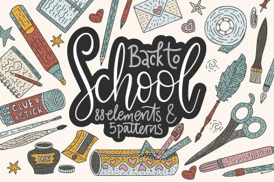 Back to school. Handdrawn set.