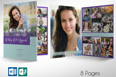 Remember Purple Teal Funeral Program Word Publisher Large Template - 8