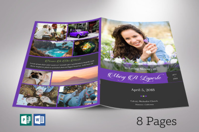Remember Purple Funeral Program Word Publisher Template 8 Pages
