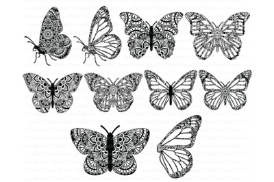 Mandala Butterfly SVG Zentangle Files,