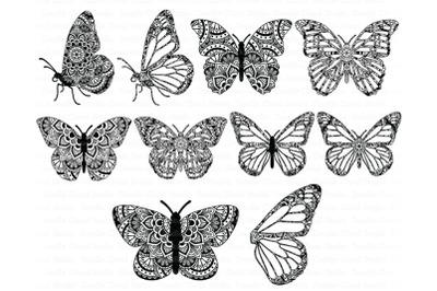 Mandala Butterfly SVG Zentangle Files,