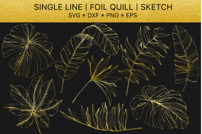 Foil quill SVG golden crystals. Single line design.