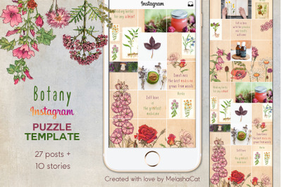 Botany Instagram PUZZLE template + 10 Instagram stories