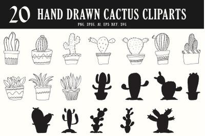 20 HandDrawn Cactus Cliparts