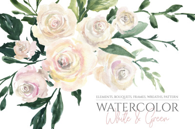 Watercolor White Roses Flowers Bouquets Frames
