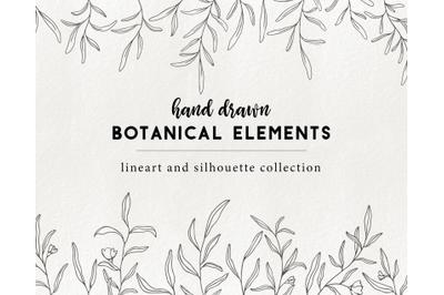 Handdrawn floral elements - doodle botanical illustration graphics