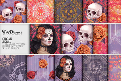 Sugar Skull Seamless Digital Paper