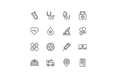 Medical and hospital line icon set