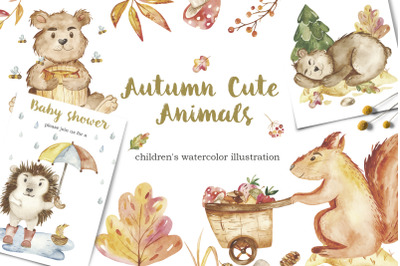Autumn Cute Animals. Childrens watercolor illustrations.