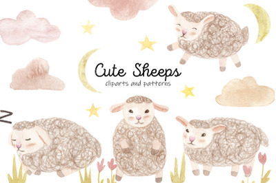 Cute Watercolor Sheeps. Seamless Patterns and Cliparts