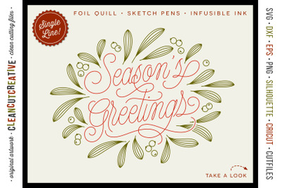 Foil Quill Season's Greetings | single line Christmas file SVG