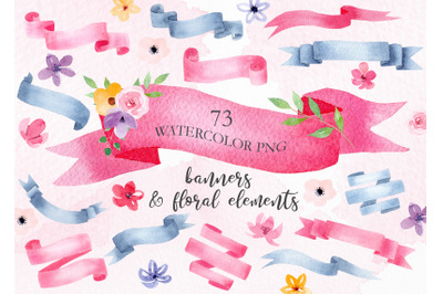 Watercolor Banners Clipart Set
