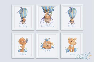 Printable Nursery Art. Posters. Teddy Bear Hot air balloon