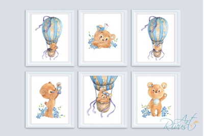 Digital Nursery Prints. Teddy Bear Hot Air Balloon Nursery Wall Art.