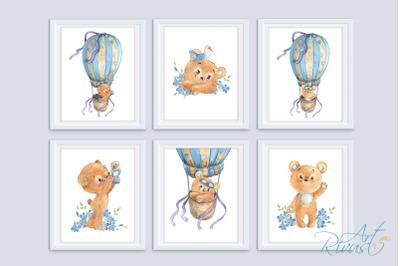 Digital Nursery Prints. Teddy Bear Hot Air Balloon Nursery Wall Art.