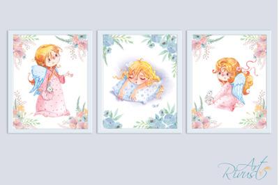 Cute Angel Girl Digital Nursery Prints Nursery Wall Art. Baby girl