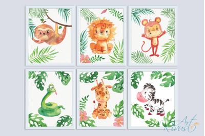 Printable Nursery Art Safari Animals. Cute African wild animal wall
