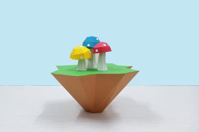 DIY Mushroom Island  - 3d papercraft