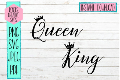 Queen and King W/ Crown| Crown SVG | SVG Cutting File