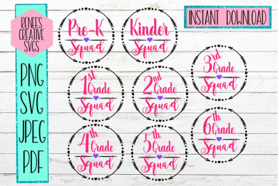 Back to school Squad bundle| 1st day of school | SVG file