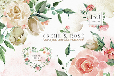 Creme & Rose Watercolor Illustrations Set