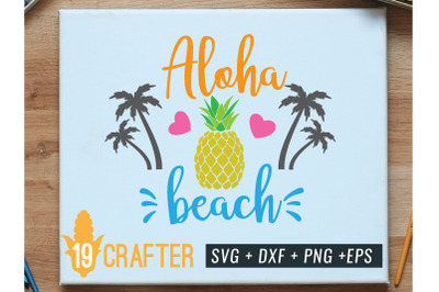 aloha beach with pineapple summer svg file